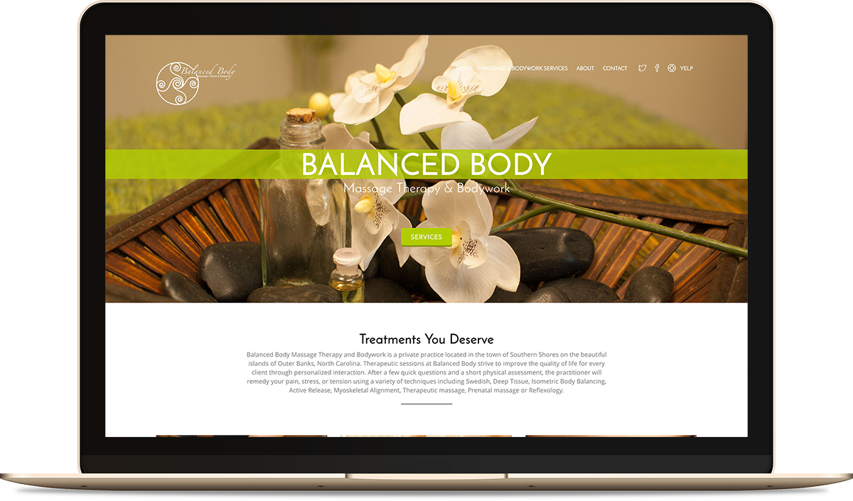 Balanced Body Massage Therapy & Bodywork website on the computer