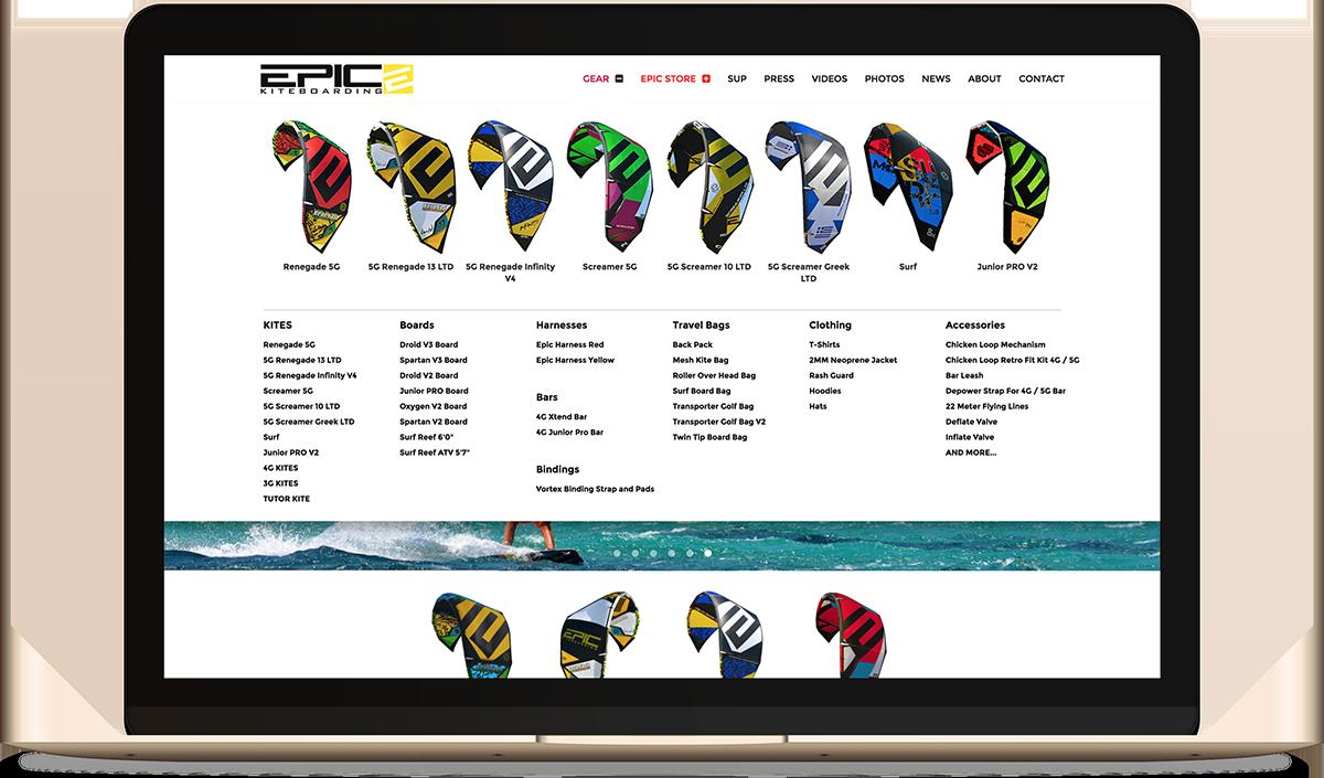 EPIC KITES KITEBOARDING website on the computer