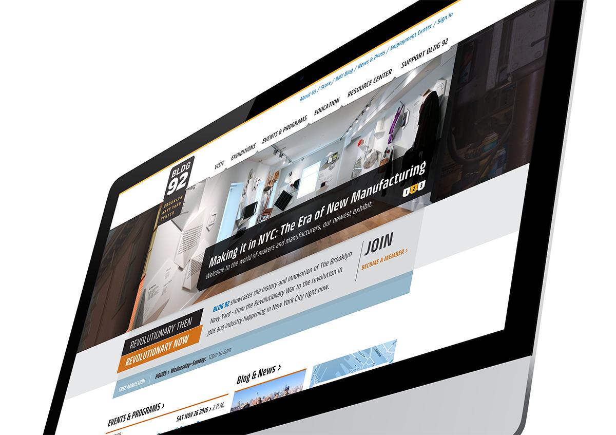 BROOKLYN NAVY YARD CENTER AT BLDG92 website on the computer