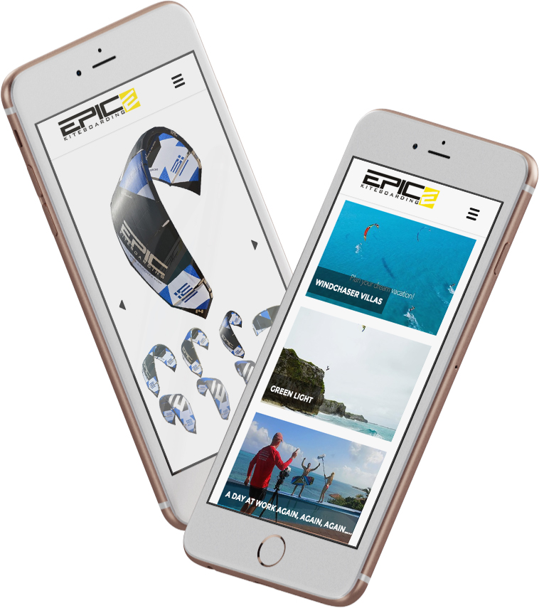 EPIC KITES KITEBOARDING website on the mobile device