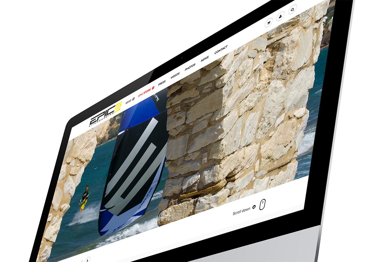 EPIC KITES KITEBOARDING STORE website on the computer