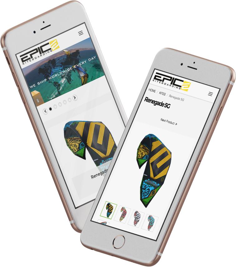 EPIC KITES KITEBOARDING STORE website on the mobile device
