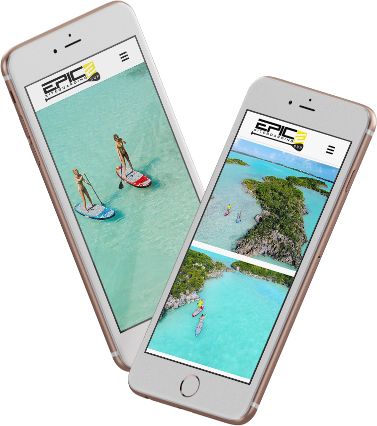 EPIC KITES KITEBOARDING STAND UP PADDLE BOARDS website on the mobile device