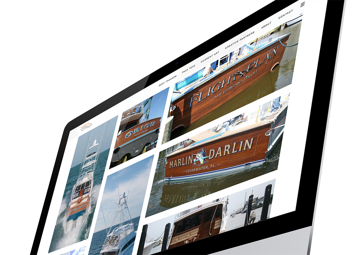 EVERETT NAUTICAL DESIGNS website on the computer