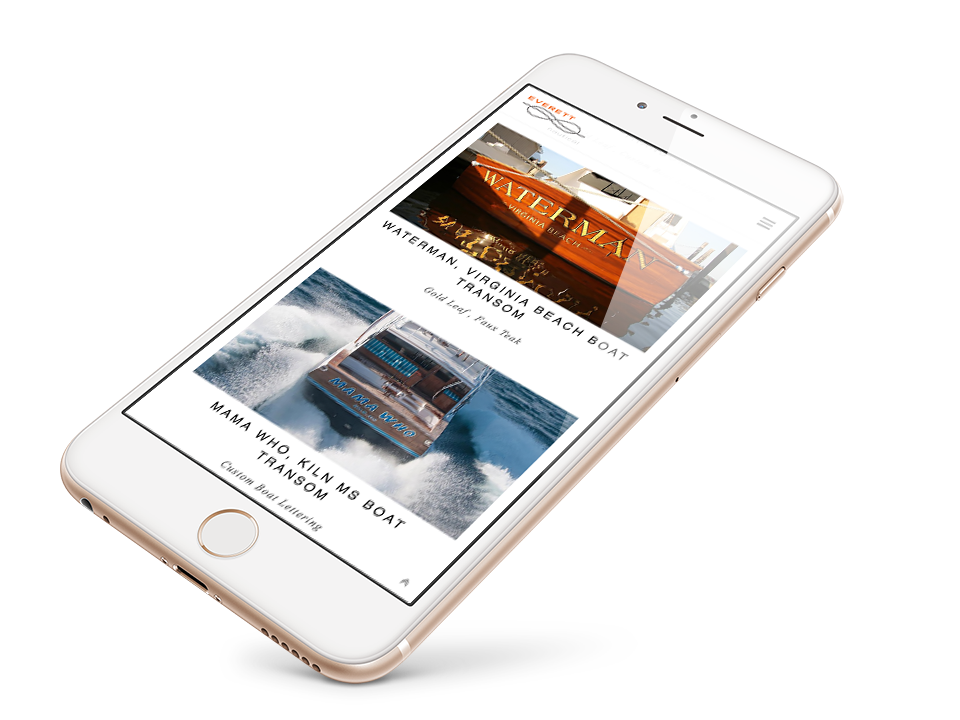 EVERETT NAUTICAL DESIGNS website on the mobile device