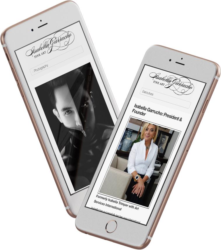 Isabella Garrucho Fine Art website on the mobile device