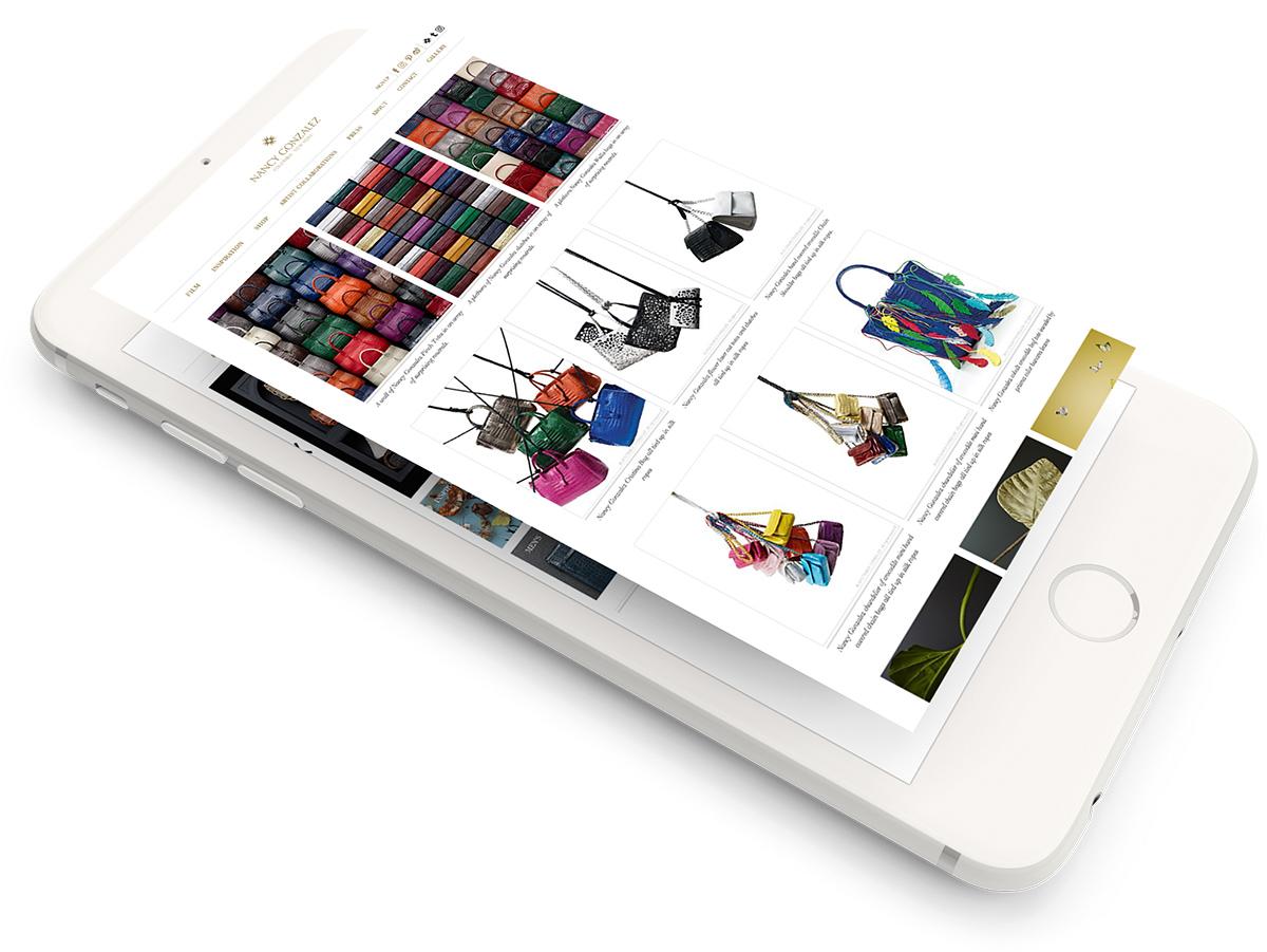 Nancy Gonzalez website on the mobile device