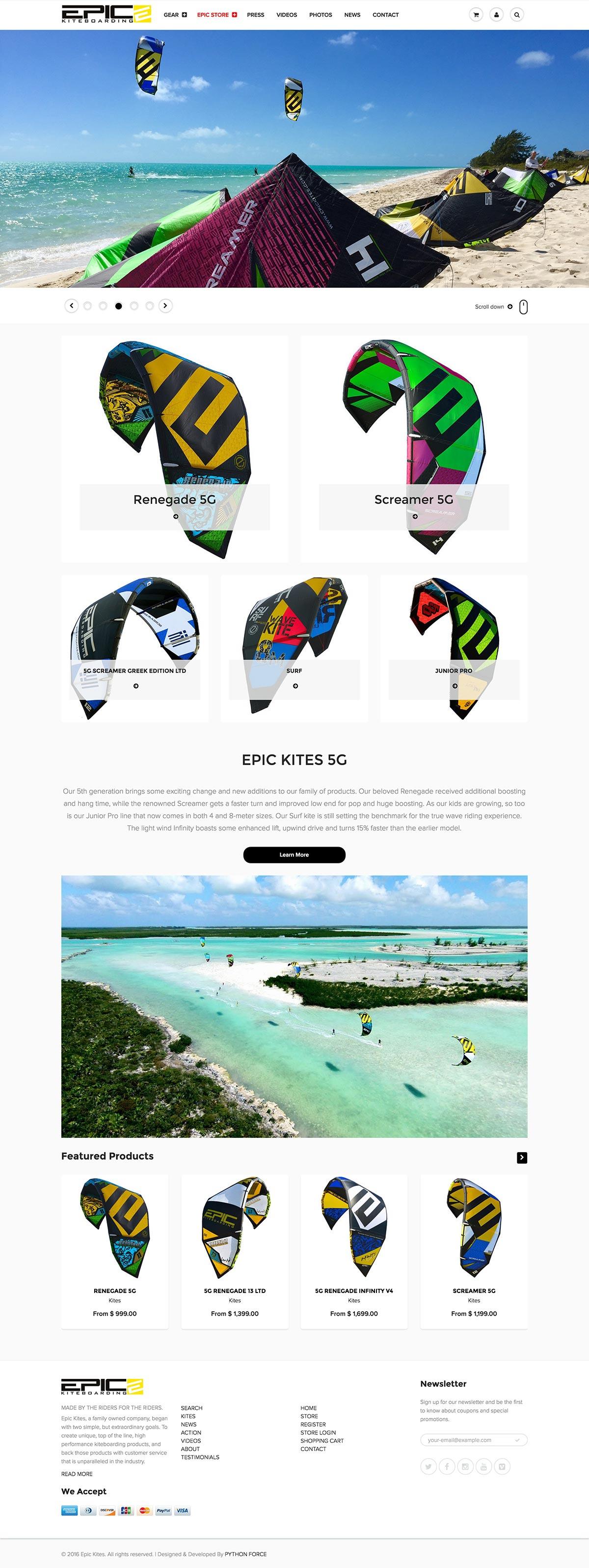 EPIC KITES KITEBOARDING STORE website