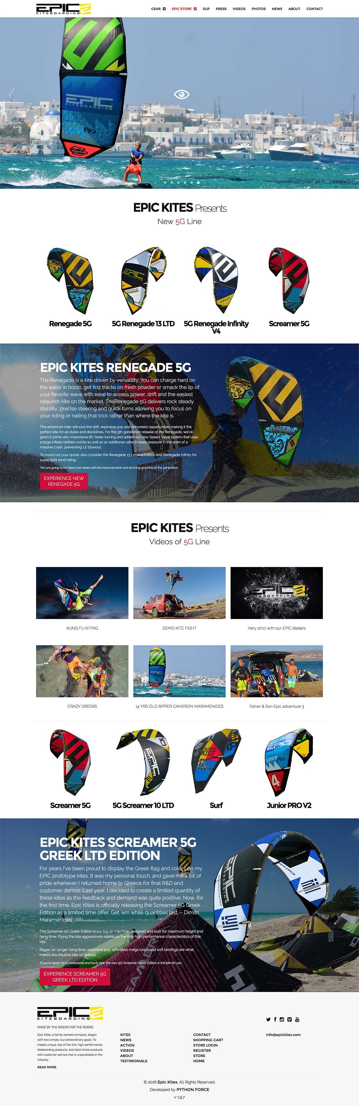 EPIC KITES KITEBOARDING website